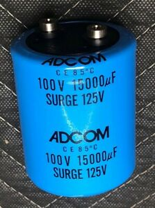 15000uf 100v Large Electrolytic Capacitor Adcom Made In Usa