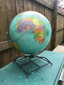 Vintage Antique 1950 S 12 Replogle World Globe With Rare Metal Base