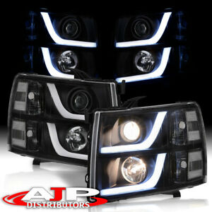 Black Led Drl Tube Projector Headlights Lamps For 2007 2013 Chevy Silverado 1500