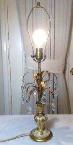 Vintage Antique Italian Tole Gilt Leaves Crystal Prisms Table Lamp 840