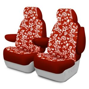 For Ford F 150 15 17 Dash Designs Hawaiian 1st Row Red Custom Seat Covers