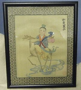 Orig Antique Chinese Painting On Silk Immortal Over The Sea Artist Signed Pretty