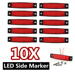 10x Red 6 Led Side Marker Indicator Lights Car Truck Trailer Lorry