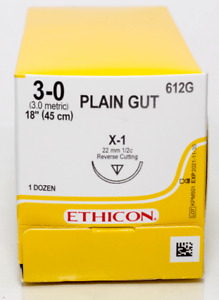 J j Ethicon 612g Plain Gut Absorbable Reverse Cutting Sutures X 1 3 0 18 12 bx