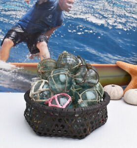 Vintage Japanese Glass Fishing Floats 2 Netted Lot 20