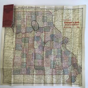 Vintage Map Of Missouri Mo Antique 1906 Folds To Pocket Size History