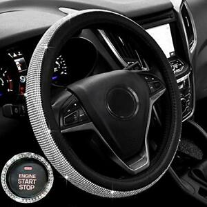 Bling Bling Crystal Rhinestones Leather Steering Wheel Cover Universal 15 Inch