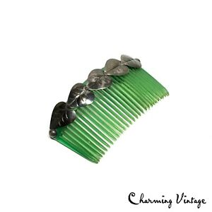 Antique Victorian Green Sterling Silver Floral Insert Comb