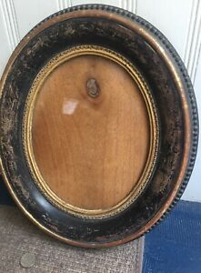 Antique Wood Gesso Glass Oval Picture Frame 12x14 7x9