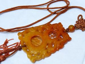 Chinese Vintage Antique Old Yellow Rust Jade Carved Pendant