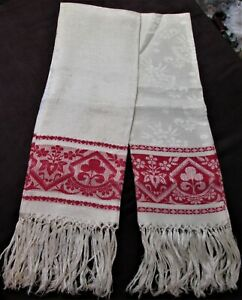 Antique Pr Linen Damask Fringed Show Towels Turkey Red Bands Florals Geometrics
