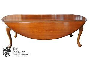Hammary Solid Cherry Queen Anne Traditional Drop Leaf Coffee Cocktail Table 48
