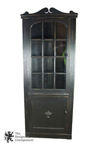 Colonial Revival Rustic Black Country Corner Cabinet Distressed Cupboard Vintage