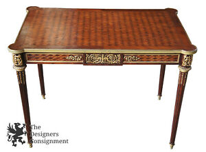 Napolean Iii Empire Style French Writing Desk Mahogany Bureau Library Table Gilt