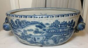 Large 17 Old Chinese Blue White Oval Porcelain Pot W Peach Flower Handles
