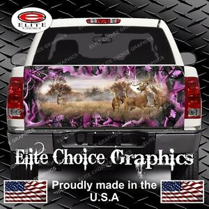 Whitetail Buck Deer Pink Camo Truck Tailgate Wrap Vinyl Graphic Decal Wrap