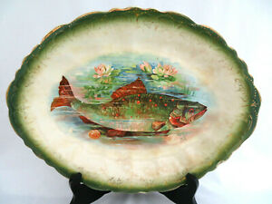 Antique Late 1800 S Trout Fish Platter Hunting Fishing Lodge