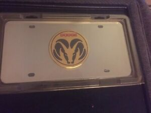New Vintage Gold Dodge Ram Oem Logo On Chrome License Plate Officially Licensed