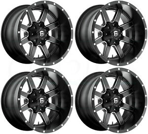 22x10 Fuel Maverick D610 8x6 5 8x165 1 24 Black Milled Wheels Rims Set 4