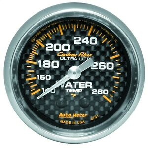 Autometer 4731 Carbon Fiber Mechanical Water Temperature Gauge