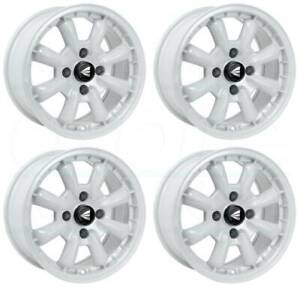 16x8 Enkei Compe 4x100 25 White Paint Wheels Rims Set 4