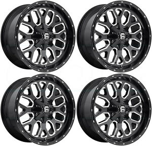 22x12 Fuel Titan D588 8x6 5 8x165 1 44 Black Milled Wheels Rims Set 4