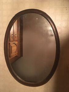 Antique Wood Oval Wall Mirror With Beading For Repair Restoration 25 X35