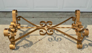 Spanish Revival Wrought Iron Coffee Table Base No Top Hollywood Regency Gold