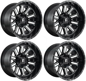 22x12 Fuel Hardline D620 8x170 44 Black Milled Wheels Rims Set 4