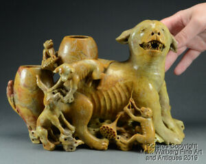 Large Chinese Soapstone Carving Hound W Puppies Monkeys Late 19 Early 20 C