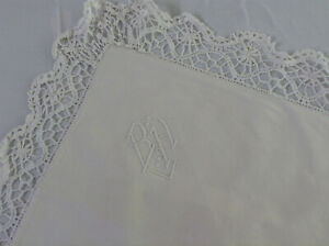 Antique Vintage French Pillow Sham Lovely Metis Linen Hand Sewn Mono Bh Lace