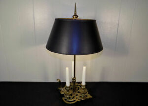 1972 Chapman Brass Candle Table Lamp Original Black Shade Bouillotte Style