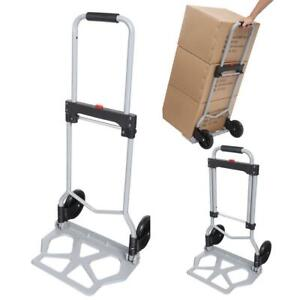 Portable Folding Hand Truck Dolly Luggage Carts Silver 220 Lbs Sapi