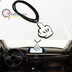 Jdm Mickey Middle Finger Car Rearview Mirror Hanging Ornament Dangling Pendant