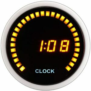 Digital Clock 52 Mm Car Gauge Black Face Silver Housing 12v Amber Lcd Yellow Led