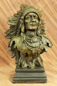 Indian Native American Art Chief Eagle Bust Bronze Marble Statue Sculpture Decor