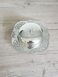 Newhall Epns Covered Butter Dish With Frosted Glass Liner