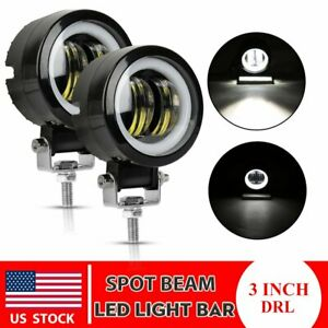 2x 3 Inch Led Work Light Bar Spot Pods Driving Fog Halo Off Road Jeep Atv Truck