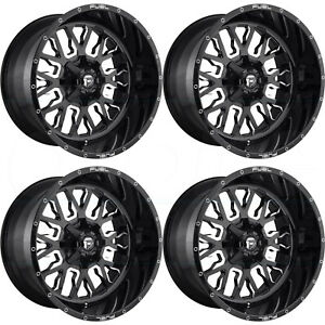 22x10 Fuel Stroke D611 8x180 10 Black Milled Wheels Rims Set 4