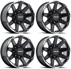 17x9 Mkw M94 6x5 5 6x139 7 10 Satin Black Machine Ring Wheels Rims Set 4
