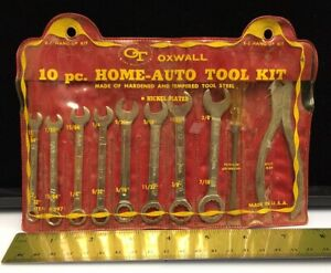 Vtg Oxwall 10pc Auto Home Tool Kit U S A Wrench Pliers Screwdriver In Pouch