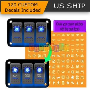 12v 20a 3 Gang 5pin Laser Rocker Switch Panel Kit Car Truck Boat Blue Led Button