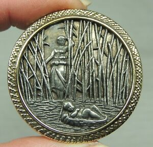 Brass Pewter Picture Button Moses Miriam In The Bullrushes Metal