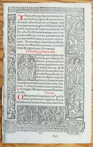 Book Of Hours Leaf Hardouin Woodcut Border Santa Apolonia 1510