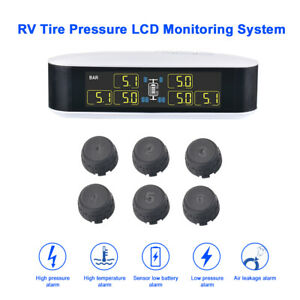 Wireless Car Tire Tyre Pressure Monitoring System Tpms 6 Sensor For Rv Ma1996