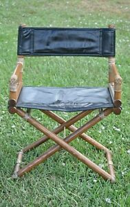 1950 S Vintage Mcguire Bamboo Brass And Leather Folding Director S Chair