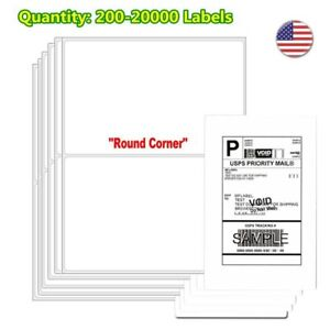 200 20000 8 5x5 5 Shipping Labels Half Sheet Self Adhesive Round Corner Laser Us