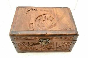 Antique Vintage Art Chinese Old Wood Handmade Jewelry Box Treasure Chest 11 5
