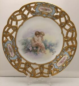 French Paris Sevres Reticulated Porcelain Portrait Plate Signed A Faugeron 9