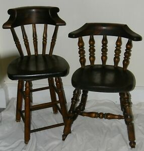 Vintage Old Tavern Pub Pine Wood Chair Swivel Stool Set Awesome Pair